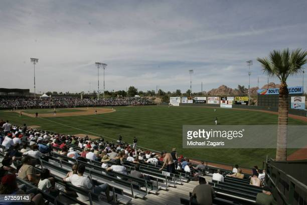 Phoenix Municipal Stadium is shown during the Oakland Athletics Spring Training game against the Los Angeles Angels of Anaheim on March 5 2006 in...