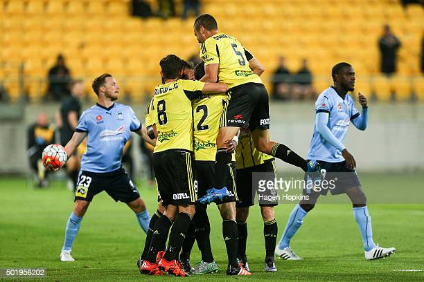 Phoenix players celebrate the goal of Roy Krishna during the round 11 ALeague match between the Wellington Phoenix and Sydney FC at Westpac Stadium...
