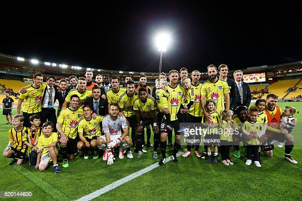 Phoenix players pose for a team photo as they farewell Ben Sigmund and Manny Muscat during the round 27 ALeague match between the Wellington Phoenix...