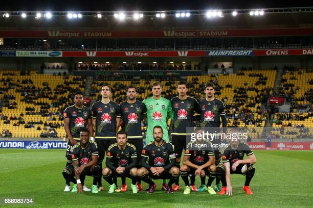 Phoenix players pose for a team photo during the round 26 ALeague match between the Wellington Phoenix and Sydney FC at Westpac Stadium on April 8...