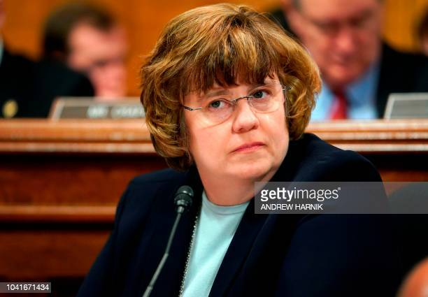 Phoenix prosecutor Rachel Mitchell listens during opening statements before Christine Blasey Ford testifies to the Senate Judiciary Committee on...