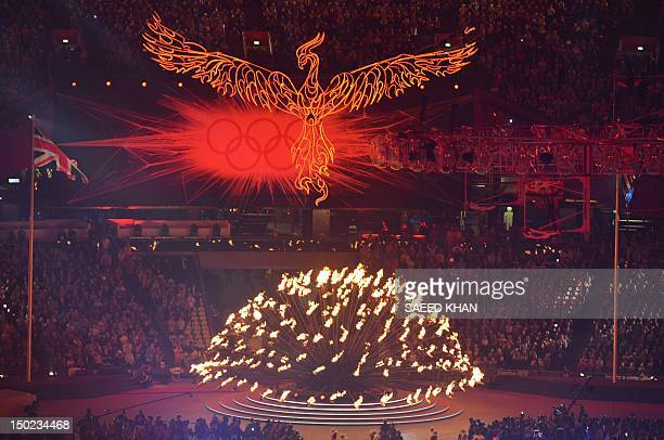 Phoenix rises in front of the Olympic rings anbd flame inside the Olympic stadium during the closing ceremony of the 2012 London Olympic Games in...