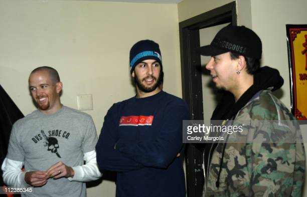 Phoenix Rob Bourdon and Mike Shinoda of Linkin Park listen to two Marines tell of their experiences in Iraq from where the two returned four months...