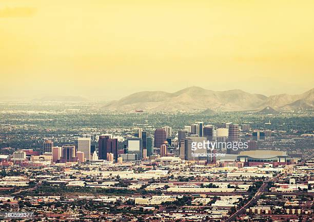 phoenix skyline at dusk - phoenix arizona stock photos and pictures