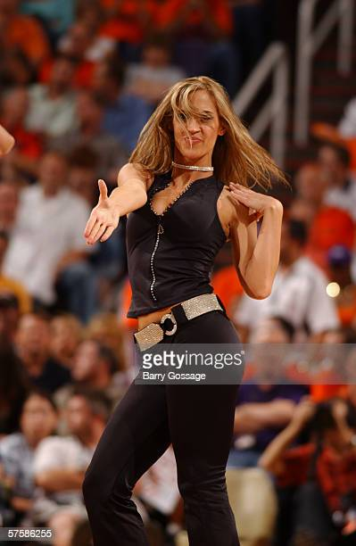 Phoenix Suns cheerleader dances in game five of the Western Conference Quarterfinals against the Los Angeles Lakers during the 2006 NBA Playoffs at...