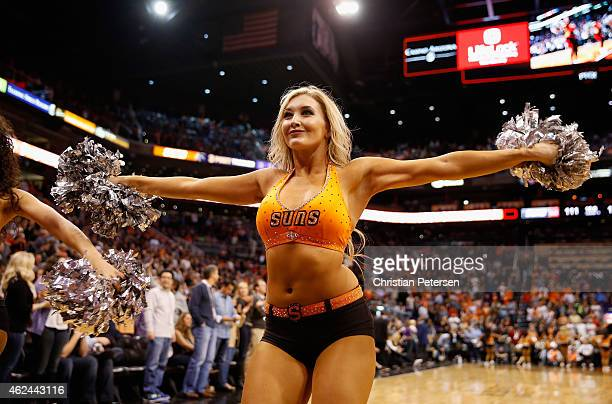 Phoenix Suns cheerleader performs during the NBA game against the Houston Rockets at US Airways Center on January 23 2015 in Phoenix Arizona The...