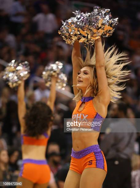 Phoenix Suns cheerleaders perform during the second half of the NBA game against the Boston Celtics at Talking Stick Resort Arena on November 8 2018...