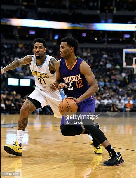 Phoenix Suns forward TJ Warren drives on Denver Nuggets forward Wilson Chandler during their game November 16 2016 at Pepsi Center