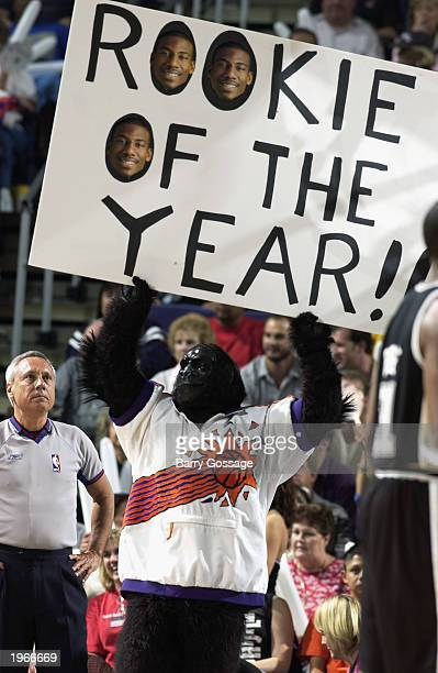Phoenix Suns mascot Go the Gorilla holds up a sign touting Amare Stoudemire as the Rookie of the Year in Game three of the Western Conference...
