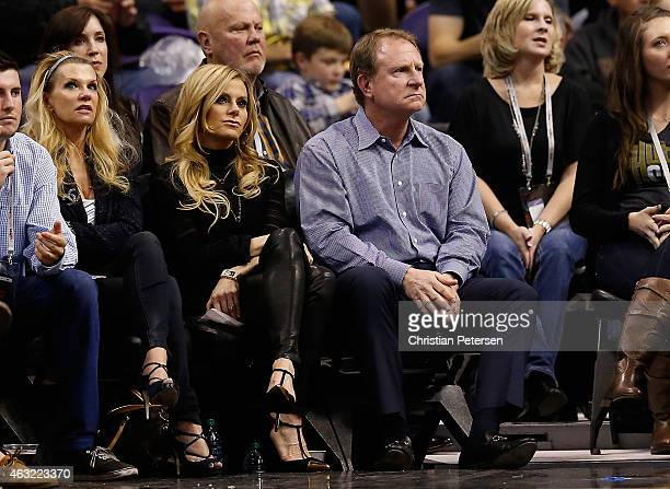 Phoenix Suns owner Robert Sarver and wife Penny during the NBA game against the Houston Rockets at US Airways Center on January 23 2015 in Phoenix...