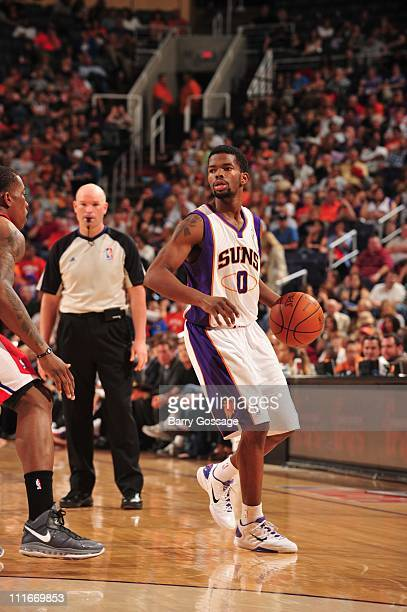 Phoenix Suns point guard Aaron Brooks brings the ball up court during the game against the Los Angeles Clippers in an NBA game played on April 1 2011...