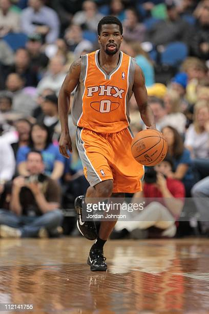 Phoenix Suns point guard Aaron Brooks brings the ball up court during the game against the Minnesota Timberwolves on April 6 2011 at Target Center in...