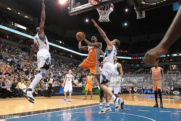 Phoenix Suns point guard Aaron Brooks goes to the basket during the game against the Minnesota Timberwolves on April 6 2011 at Target Center in...