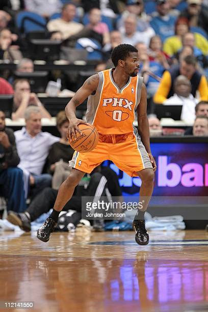 Phoenix Suns point guard Aaron Brooks protects the ball during the game against the Minnesota Timberwolves on April 6 2011 at Target Center in...