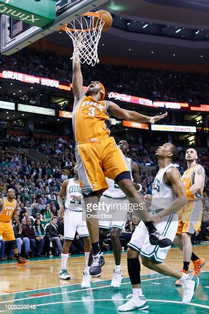 Phoenix Suns shooting guard Jared Dudley goes for the layup during the Boston Celtics 8779 victory over the Phoenix Suns at TD Garden on January 9...