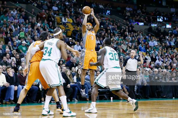 Phoenix Suns shooting guard Jared Dudley takes a jumpshot during the Boston Celtics 8779 victory over the Phoenix Suns at TD Garden on January 9 2013...