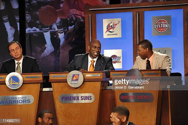 Phoenix Suns vice president of player programs Mark West looks on during the 2011 NBA Draft Lottery at the Studios at NBA Entertainment on May 17...