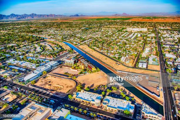 phoenix water supply desert canal - phoenix arizona stock photos and pictures