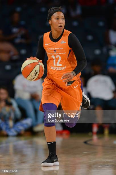 Phoenixs Briann January brings the ball up the court during the WNBA game between Atlanta and Phoenix on June 3 2018 at Hank McCamish Pavilion in...