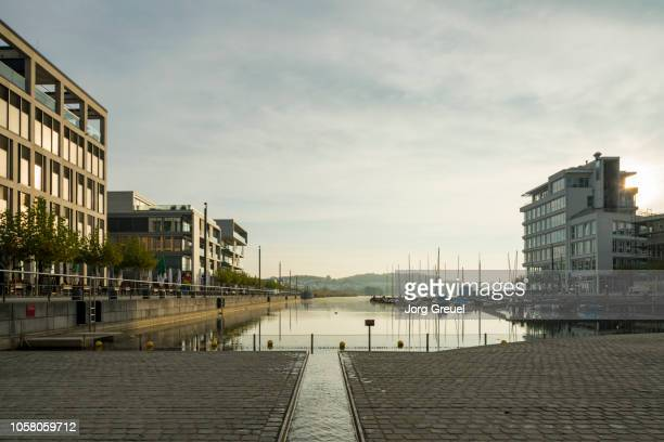 phoenix-see development area at sunrise - dortmund city stock pictures, royalty-free photos & images