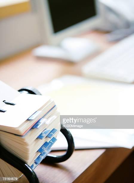 Phone book on desk