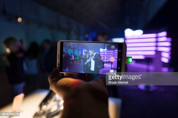 OPPO phone displayed at The OPPO launch at Carriageworks on February 1 2018 in Sydney Australia