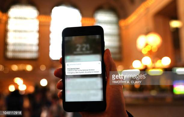 A phone is seen in Grand Central Station in New York City on October 3 as it recieves an emergency test Presidential alert message The Federal...