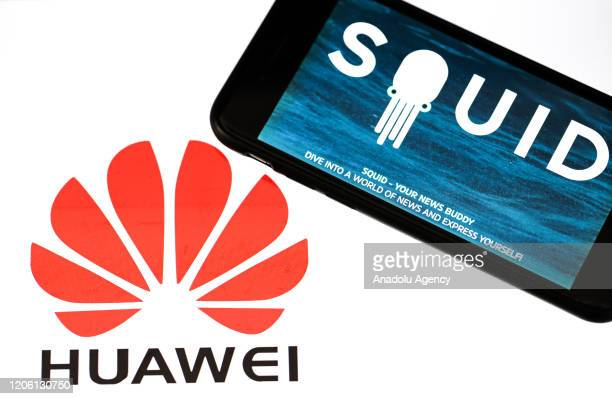 A phone screen displays 'Squid' news app logo with telecommunications equipment company 'Huawei' icon in back of it in Ankara Turkey on March 08 2020...