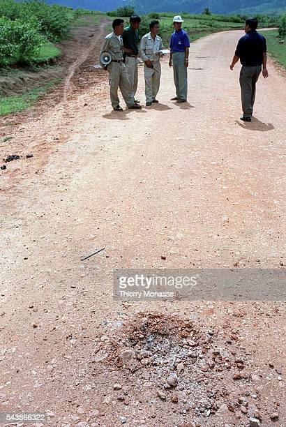 Phonsavan, Lao People's Democratic Republic, August 2003. -- Unexploded ordnance are cleared by humanitarian Deminers. During the American Vietnam...