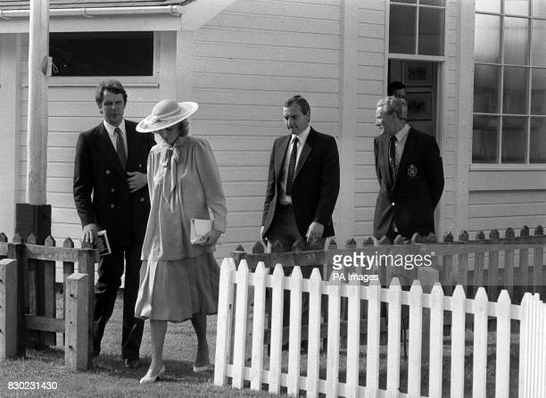 PA Photo 20/6/84 Inspector Graham Smith with the Princess of Wales and her Detective Barry Mannakee at Smith's Lawn Windsor Polo MANAKEE