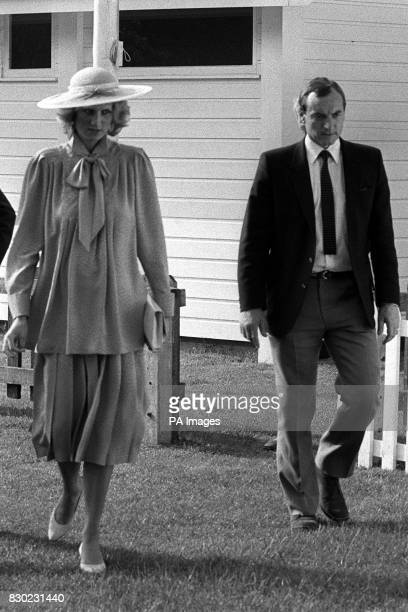 PA Photo 20/6/84 The Princess of Wales expecting her second child in September with her Detective Barry Mannakee at Smith's Lawn Windsor Polo...