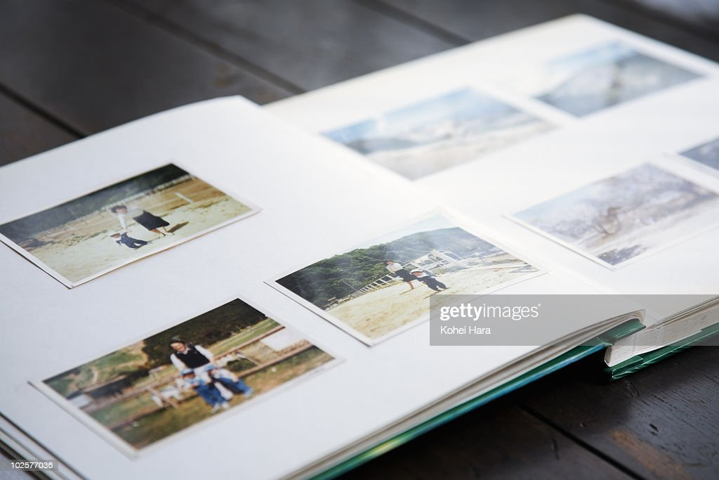 photo album of family at farm : Stock Photo