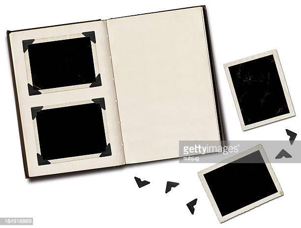 Photo album with blank black photos