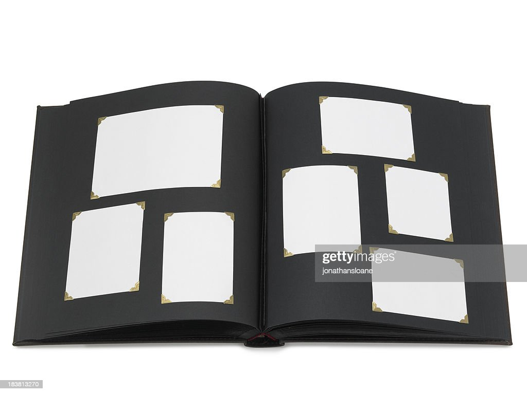 Photo album with blank pictures, isolated : Stock Photo
