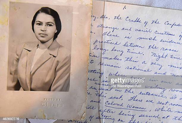 A photo and a hand written page that is part of a Rosa Parks archive during a press event at the Library of Congress James Madison Memorial Building...