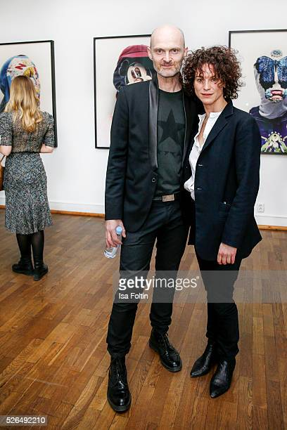 Photo artist Axel Hoedt and actress Bibiana Beglau at 'Der Berliner Fotografie Salon Edition 1' on April 29 2016 in Berlin Germany