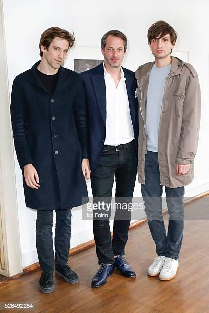 Photo artist Patrick Bienert Marcus Kurz cofounder of the berliner Modesalon and photo artist Max von Gumppenberg at 'Der Berliner Fotografie Salon...