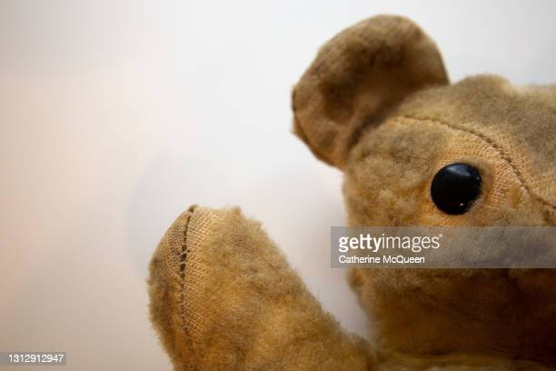 photo autopsy of a much loved teddy bear toy - teddy bear stock pictures, royalty-free photos & images