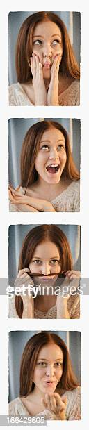 Photo booth strip of woman making silly faces