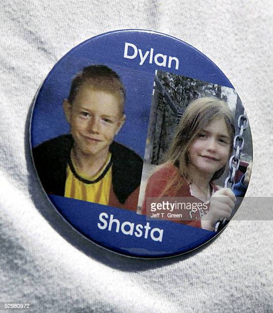 D' ALENE ID MAY 25 A photo button of Shasta Groene and Dylan Groene is seen May 25 2005 in Coeur D' Alene Idaho Brenda K Groene her son Slade Groene...