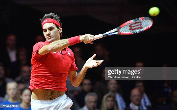 Photo by Christian Liewig Switzerland's Roger Federer won the David Cup 31 against Francs's Richard Gasquet in a decisive match of the Final of the...