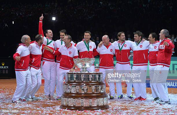 Photo by Christian Liewig Switzerland's Winner Trophy the David Cup 31 the Final of the Davis Cup 2014 in the Stadium Pierre Mauroy Villeneuve d'Ascq...