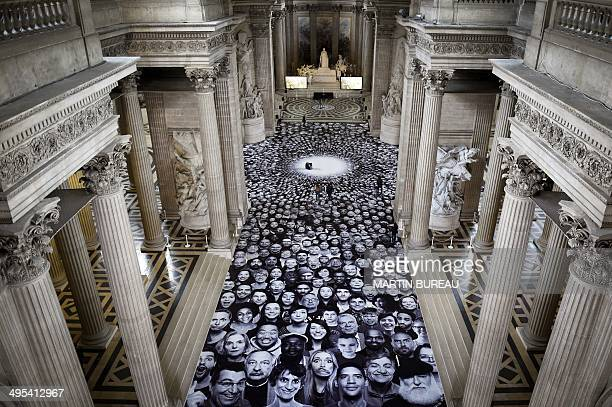 A photo by French photographer JR is displayed on the ground of the Pantheon in Paris a secular temple which contains the remains of distinguished...