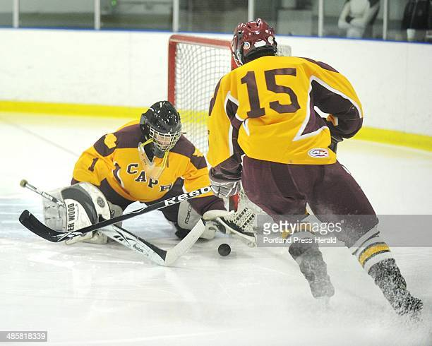 Photo by John Ewing/Staff Photographer -- Monday, December 28, 2009 -- Cape Elizabeth vs. Belmont, Mass. In the Maine High School Invitational Hockey...