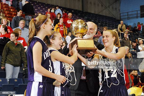 Photo by John Ewing/Staff Photographer Saturday February 28 2009 Deering vs Messalonskee girls class A state championship game Deering captains...