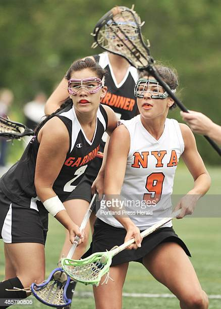 Photo by John Ewing/staff photographer Saturday June 11 2011 North Yarmouth Academy girls lacrosse playoff game against Gardiner Gardiner defender...