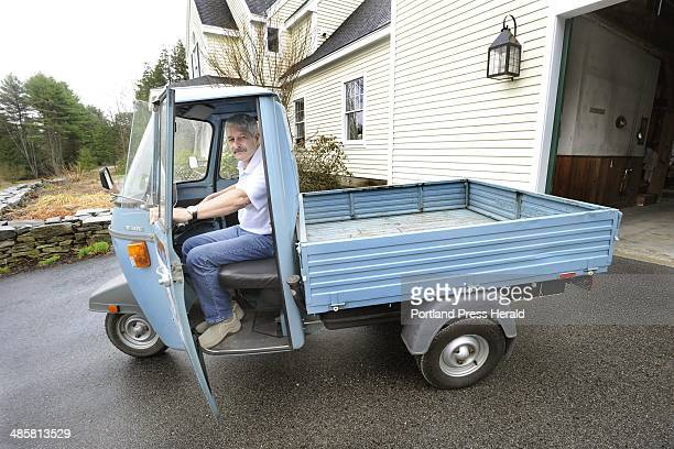 Photo by John Patriquin/Staff Photographer Paul Turina who lives in North Yarmouth owns a Piaggio Ape a threewheeled Italian vehicle that he uses to...