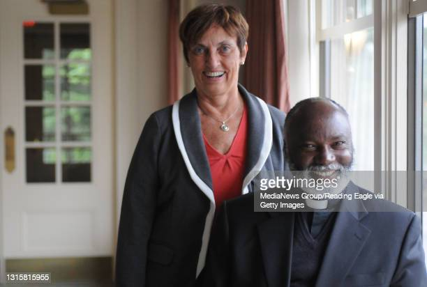 Photo by Lauren A. LittleOctober 16, 2009Reading Missionaries Sue Horrigan Ozar and Francis Riwa of Meru, Kenya pose together at the Berkshire...