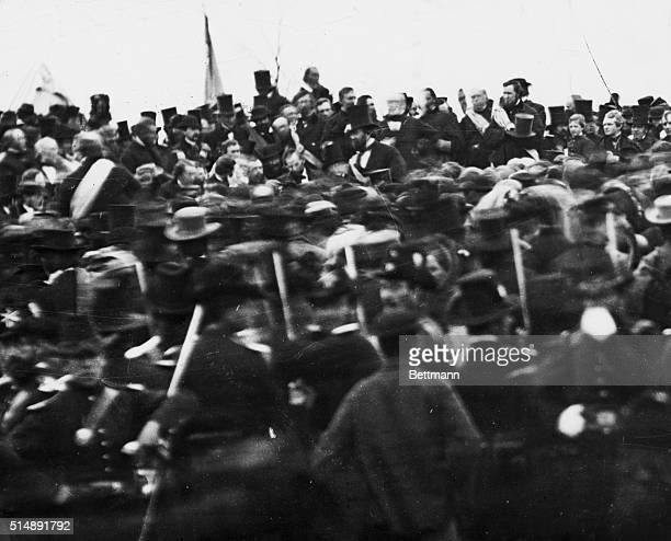 A photo by Mathew Brady of Abraham Lincoln giving the Gettysburg Address in 1863