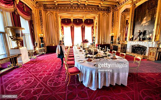 Photo call for Christmas at Windsor Castle. Visitors will be able to view the table in the State Dining Room set for a festive Victorian dessert...